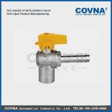 Válvula de torneira de esfera em ângulo completo para gás, conector fêmea / mangueira com alça de alumínio