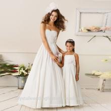Niños de 2-12 años de edad de moda fiesta de la niña de raso blanco vestido de niña vestidos de patrón de desgaste de los niños Fiesta LF02
