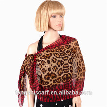 2016 fashion lady's spring/summer100%polyester printed leopard pattern voile scarf and shawl