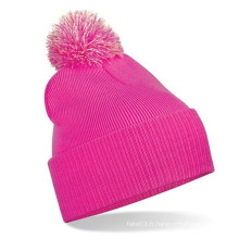 Cute Pink Beanie Hat Fitted Cute Winter Hat Headwear en tricot (XT-B036)