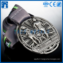 Compétence d'antiquités en argent personnalisé 3d Médailles de course sportive
