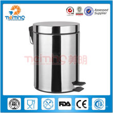 outdoor round stainless steel food pedal dustbin