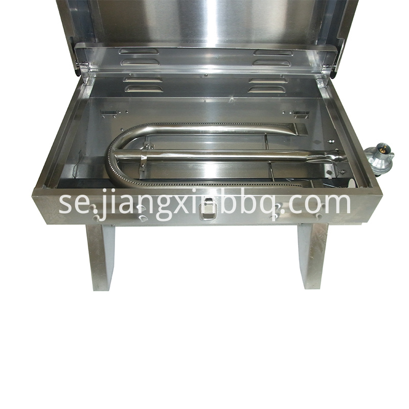 Stainless Steel Tabletop Gas Grill Exposed View