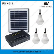 Système d'éclairage solaire avec le panneau solaire de 11V 4W et le chargeur de téléphone d'USB pour l'intérieur