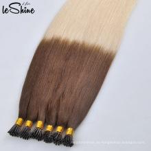 Menschliche Jungfrau-wirkliche Keratin-Haar-Verlängerungen Remy-Häutchen ausgerichtet kein Schuppen