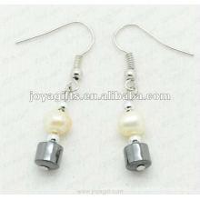 Mode Hämatit Trommel Perlen Ohrring