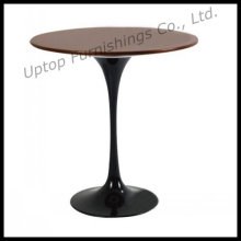 Black Aluminum Base Wooden Top Tulip Side Table (SP-GT347)