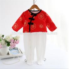 Baby Geburtstagskleidung unisex langärmelige weiße und rote Farbe Bio Baby Strampler