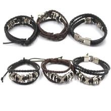 Bracelets en cuir multicouches en cuir à la main