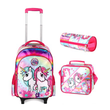 Hot 2021 high quality Kids School Bag Set Cartoon Trolley School Bag with lunch bag and pencil case