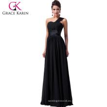 Grace Karin vestidos de baile 2016 partido largo vestidos de noche un hombro graduación maxi vestido de noche negro CL6022-2