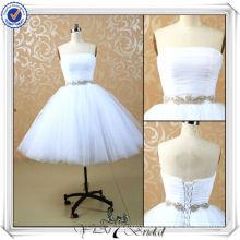JJ3506 Tulle falda Puffy Sexy Mini vestido de boda blanco