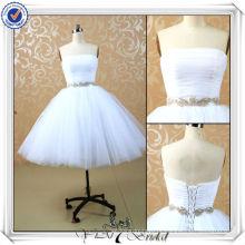 JJ3506 Saia de Tulle Puffy Sexy Short Mini vestido de casamento branco