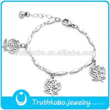 Joyas de plata pulsera de flores para niña con estilo moderno de acero inoxidable brazalete brecelet
