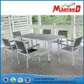 Contemporary Polywood Garden Set with Rectangle Dining Table and Plastic Garden Chair