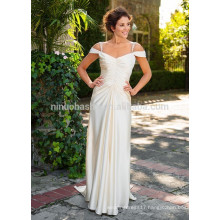 NA1027 Chic Simple A-line V-neck Off-shoulder Soft Satin Wedding Dress 2015