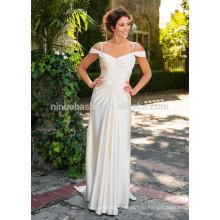 NA1027 шик простой-line V-образным вырезом off-плечи мягкий Сатин свадебное платье 2015