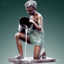 Große Statue Boy & Pail Fountain Bronze Skulptur Tpls-017