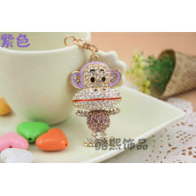 Crystal big mouth monkey cute full rhinestones fashion lovers Keychain hot new handbag accessories wholesale
