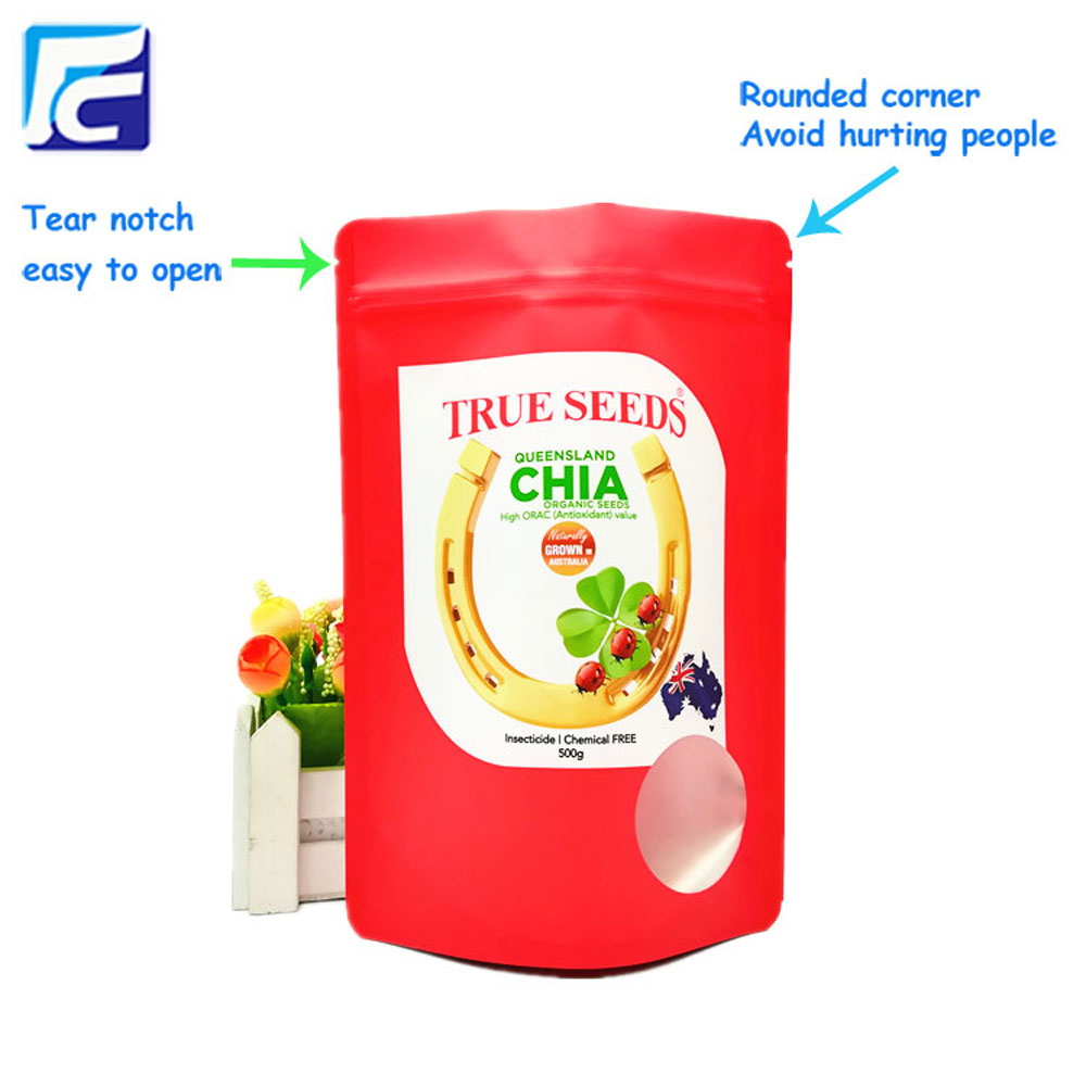 Standup foil chia seed packaging pouch with window