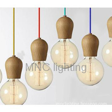 Modern Wooden Hanging Lamp holder With Edison Bulb Pendant Lamp