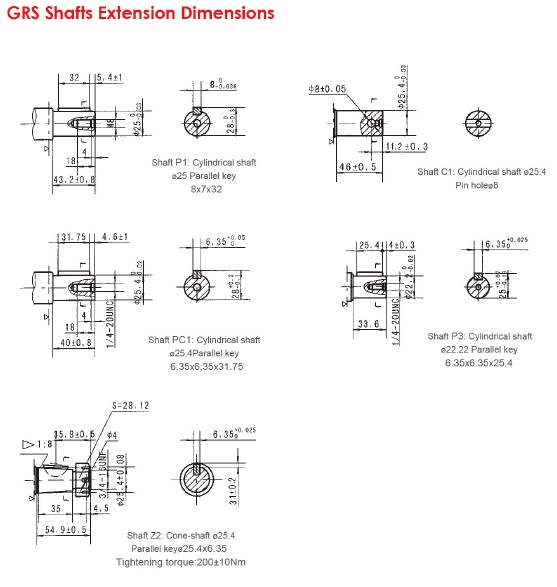 Grs Shafts Extension Dimensions 1