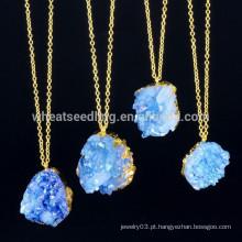 2015 novo chegam moda ouro borda druzy colar de pingente de pedra natural para as mulheres
