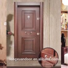 Porte blindée créée par panneau personnalisé en usine, portes turques en acier à portes battantes extérieures, porte de sécurité en acier populaire