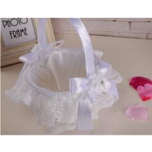 Weiße Satin-Spitze-reine weiße Blumen-Mädchen-Korb-Hochzeits-Zeremonie-Verteiler für Hochzeits-Versorgungsmaterialien