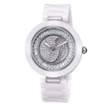 Weiqin W3229 Luxury womens white ceramic watch with rotating cz stone dial