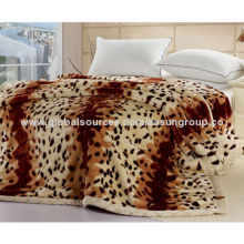 100% polyester raschel blanket in dark camel color, printed
