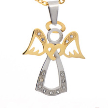 New arrival unique white and gold angle wing pendants stainless steel pendant wholesale
