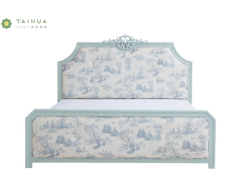 Light Blue Solid Wood Frame Bed