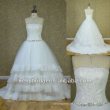 Newest strapless appliqued lace on bodice Organza skirt wedding dress