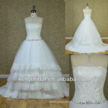 Новый без бретелек аппликация кружева лиф органза юбка свадебное платье