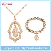 2016 cz bridal necklace zircon hand jewelry set wholesale 18k gold jewelry for women