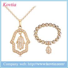 2016 cz bridal ожерелье zircon ювелирные изделия руки установили оптовые ювелирные изделия золота 18k для женщин