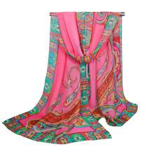 Tingyu marca best paisley indio impreso flor girls hiyab bufanda de la gasa chal bufanda