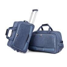 Outdoor trolley luggage leisure duffle travel boarding bag, wash fabric oxford cloth flight weekend wheeled holdall duffel bag