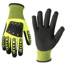 Guantes de trabajo de nitrilo para protección contra impactos resistentes con revestimiento de guantes de nivel 5 resistente a cortes