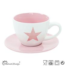 Porcelana Capppuccino Cup & Saucer Color Brillante