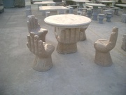 Outdoor Yellow Granite Stone Table & Chairs for Garden