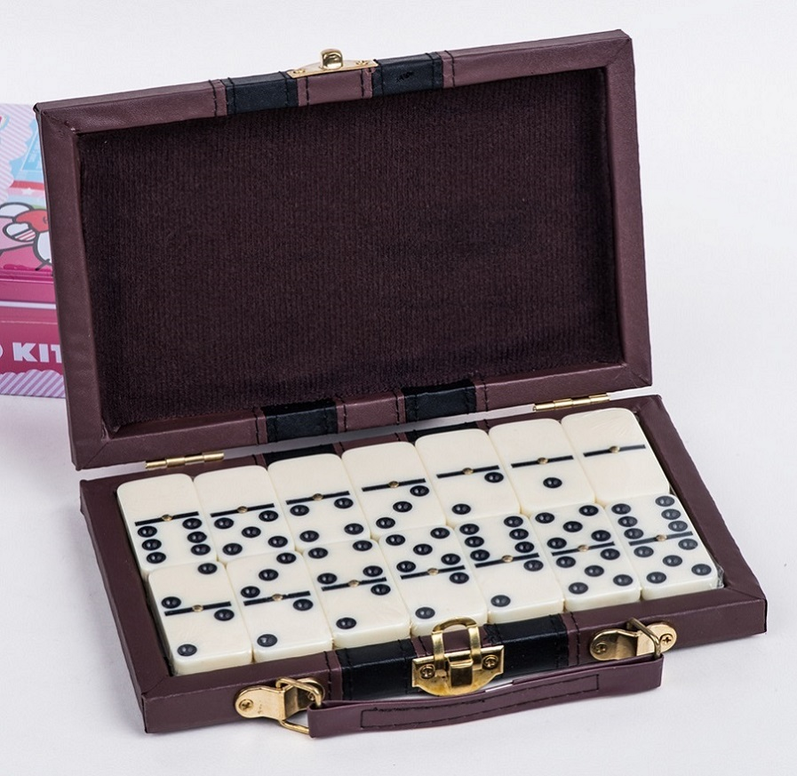 Plastic Dominoes Set In Leather Box