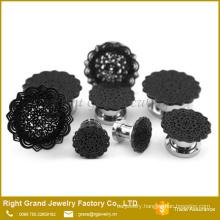 Black Plated Mandala Flower Top Surgical Steel Screw Fit Flesh Tunnel Plugs