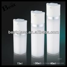 15/30 / 40ml botella de vacío de acrílico redondo con tapa blanca, botella de vacío de acrílico redonda de la bomba