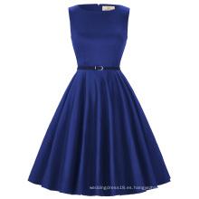 Grace Karin tamaño más sin mangas baratos cortos de cosecha de algodón retro azul real vestidos 50s vestido de verano CL6086-54