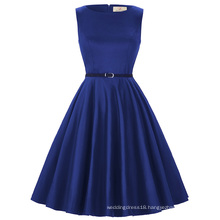 Grace Karin Plus size Sleeveless Cheap Short vintage Retro Royal Blue Cotton Dresses 50s summer Dress CL6086-54