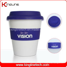 Wholesale 350ml Silicone Coffee Cup with Sillicone Band and Cover (KL-CP005)