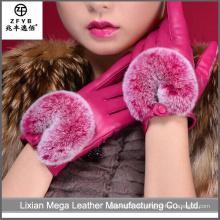 China Großhandel smartphone benutzerdefinierte Touchscreen Leder Handschuhe mit Pelz