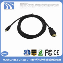 0.3m 1m 1.5m 2m 3m 5m 1ft 3ft 5ft 10ft 15ft MICRO HDMI al cable de HDMI con el oro de Ethernet plateado para los teléfonos celulares para win8 4kx2k